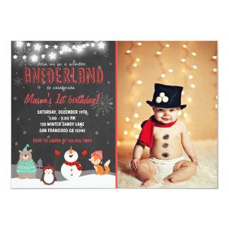 Winter ONEderland birthday party invitation red