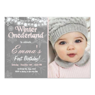 Winter Onederland birthday party invite at Zazzle