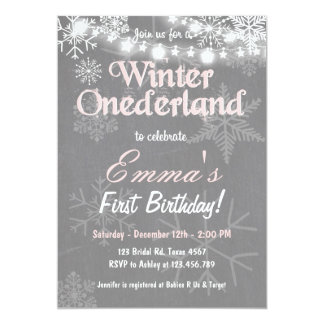 Winter Onederland birthday party invite