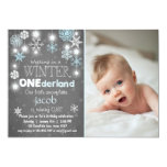 Winter Onederland birthday party invite Blue boy