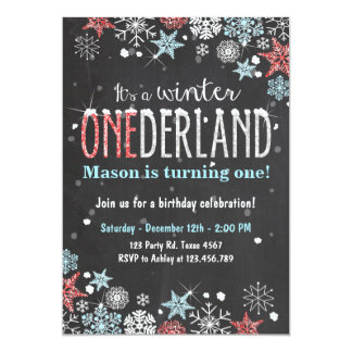 Winter Onederland birthday party invite Boy