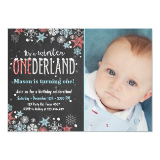 Winter Onederland birthday party invite Boy
