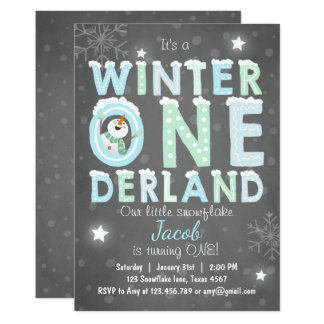 Winter Onederland birthday party invite Boy Blue