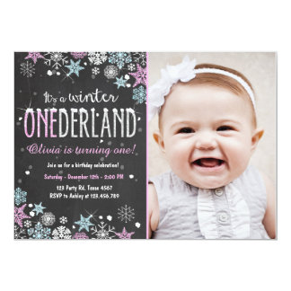 Winter Onederland birthday party invite Girl