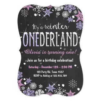 Winter Onederland birthday party invite Girl