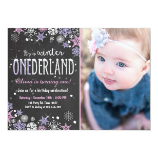 Winter Onederland birthday party invite Girl Pink