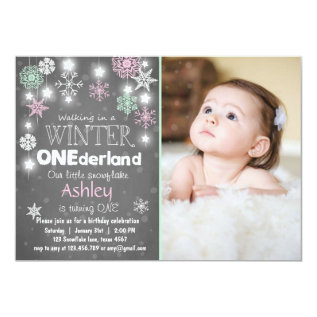 Winter Onederland birthday party invite Mint pink at Zazzle