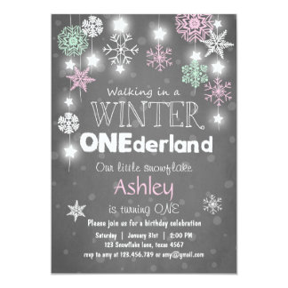 Winter Onederland birthday party invite Mint pink