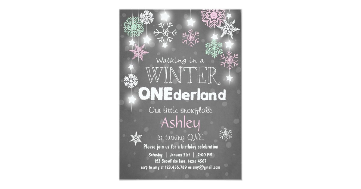 Winter Onederland birthday party invite Mint pink | Zazzle.com