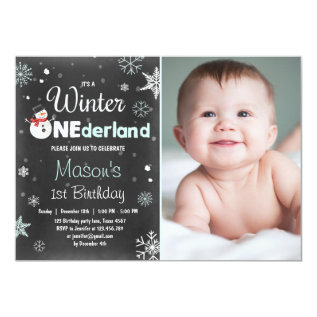 Winter Onederland birthday party snowman Mint Blue Card at Zazzle