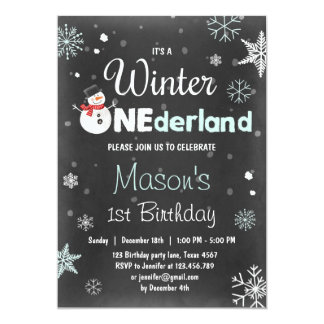 Winter Onederland birthday party snowman Mint Blue Card