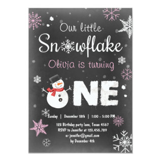 Winter Onederland birthday party snowman Pink Card at Zazzle