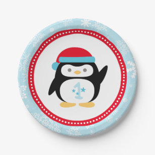 Winter ONEderland Birthday | Penguin Paper Plate  sc 1 st  Zazzle : penguin paper plates and napkins - pezcame.com