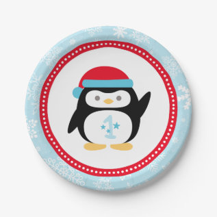 Winter Onederland Birthday | Penguin Paper Plate at Zazzle