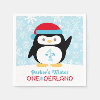 Winter ONEderland Birthday | Penguin Party Napkins