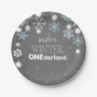 Winter onederland Birthday Plates Snowflakes Blue