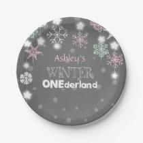 Winter onederland Birthday Plates Snowflakes Pink