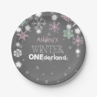 Winter Onederland Birthday Plates Snowflakes Pink at Zazzle