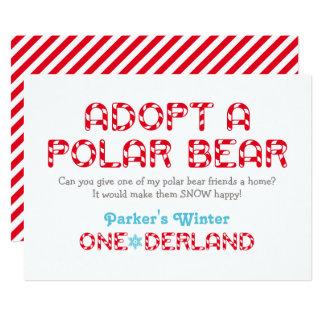 Winter ONEderland Birthday   Polar Bear Favor Sign Card