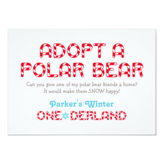 Winter ONEderland Birthday | Polar Bear Favor Sign 5x7 Paper Invitation Card
