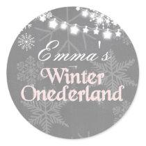 Winter onederland birthday Snowflakes sticker pink