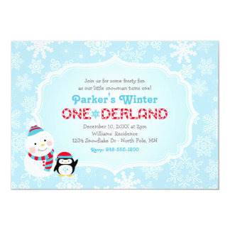 Winter ONEderland Birthday   Snowman and Penguin Card