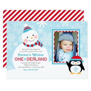 Winter ONEderland Birthday | Snowman and Penguin Card at Zazzle
