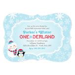 Winter ONEderland Birthday | Snowman and Penguin Custom Invite