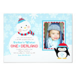 Winter ONEderland Birthday   Snowman and Penguin 5x7 Paper Invitation Card