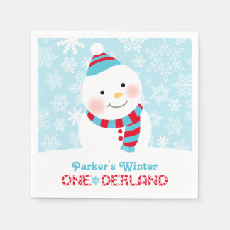 Winter ONEderland Birthday | Snowman Party Napkins Disposable Napkins