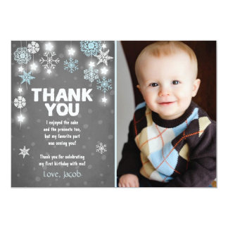 Winter ONEderland Birthday Thank you Card Boy Blue