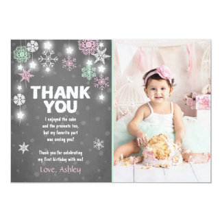 Winter ONEderland Birthday Thank you Card Girl