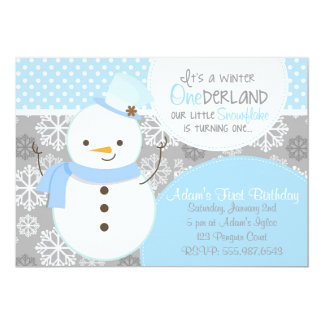 Winter Onederland Blue Snowman Invitation