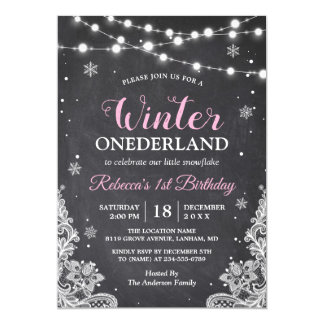 Winter ONEderland Chalkboard Baby First Birthday Card