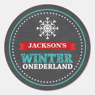 Winter ONEderland Chalkboard Boy First Birthday Classic Round Sticker