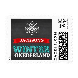 Winter ONEderland Chalkboard Boy First Birthday Postage Stamp