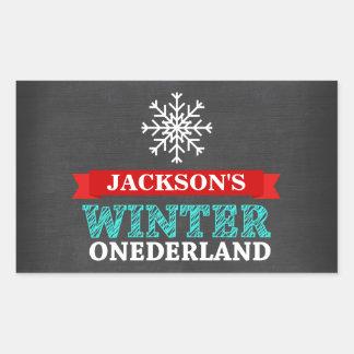 Winter ONEderland Chalkboard Boy First Birthday Rectangular Sticker
