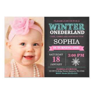 Winter ONEderland Chalkboard Teal First Birthday Card
