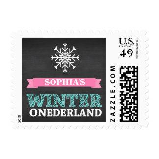 Winter ONEderland Chalkboard Teal First Birthday Postage