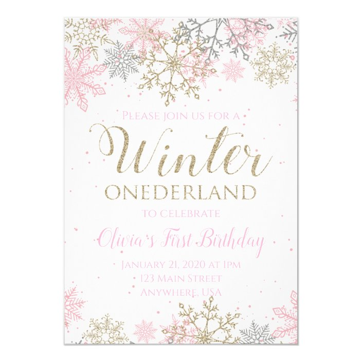 Winter ONEderland Invitations 1st Birthday Invitations Winter Wonderland Pink and Gold First Birthday Snowflakes Its Snow Much Fun to be One 5x7
