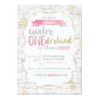 Winter Onederland First Birthday Invitation at Zazzle