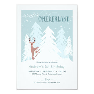 Winter Onederland First Birthday Party Invite Blue