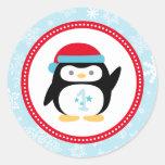 Winter ONEderland First Birthday | Penguin Design Classic Round Sticker