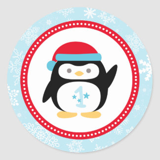 Winter ONEderland First Birthday | Penguin Design Classic Round Sticker