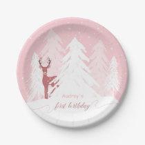 Winter Onederland First Birthday Pink Paper Plate