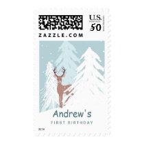 Winter Onederland First Birthday Postage Deer Med