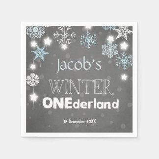 Winter onederland Paper Napkin Blue Boy Snowflake
