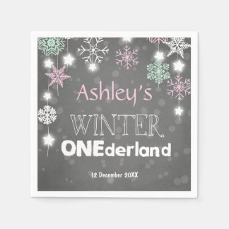 Winter onederland Paper Napkin Pink Girl Snowflake