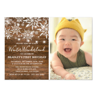 Winter Onederland Photo 1st Birthday Party Card