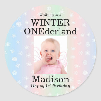 Winter Onederland Photo Snowflake Classic Round Sticker